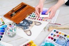 Kunst het schilderen de kleurenmonster van de beeldtekening Royalty-vrije Stock Afbeelding