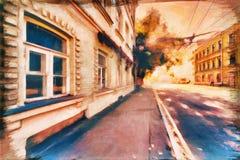 Kunst het schilderen stijl oude straat in de moderne stad Royalty-vrije Stock Foto's