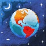 Kunst het schilderen van Aarde in sterrige nacht in ruimte Stock Afbeeldingen