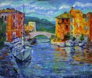 Kunst het schilderen van Haven Grimaud in Frankrijk stock afbeeldingen
