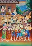 Kunst het Thaise schilderen op muur in tempel. stock fotografie
