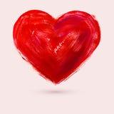 Kunst malt rotes Herz, Vektorillustration Stockfoto