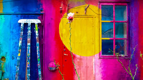 Kunst in muur, Freetown Christiania, Denemarken Stock Afbeeldingen