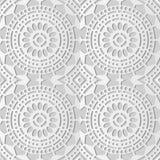 Kunst runder Quer-Dot Line Frame Flower des Weißbuches 3D stock abbildung