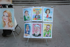 Kunst scetches in Arbat-straat, Moskou Royalty-vrije Stock Fotografie