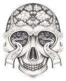 Kunst surreal schedel royalty-vrije illustratie