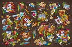 Kunst- und Farbenmaterialgekritzel übergeben gezogene Symbole lizenzfreie abbildung