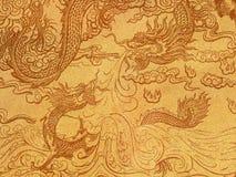 Kunst van Chinese draak op kringloopdocument Stock Foto