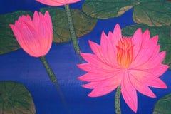 Kunst van roze lotusbloembloemen Royalty-vrije Stock Foto
