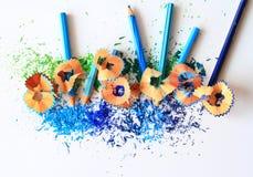 Kunst von blauen Farbbleistiften Lizenzfreie Stockfotos