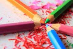 Kunst von farbigen Bleistiften Stockfotografie