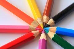 Kunst von farbigen Bleistiften Stockfotos