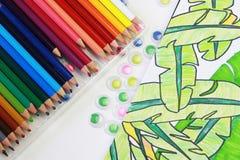 Kunst von farbigen Bleistiften Stockbild