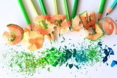 Kunst von grüne Farbbleistiften Stockbilder