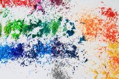 Kunst von Vielzahlfarbbleistiften und Farbgraphit wischen ab Stockfotos