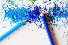 Kunst von Vielzahlfarbbleistiften und Farbgraphit wischen ab Stockfoto