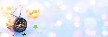 Kunst 2017 Vrolijke Kerstmis en gelukkige Nieuwjaren partij Royalty-vrije Stock Afbeelding