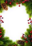 Kunst   Weihnachtsrahmen mit Tanne und Stechpalmenbeere auf Weißbuchba Stockfotos