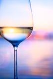 Kunst witte wijn op de de zomer overzeese achtergrond Stock Afbeeldingen