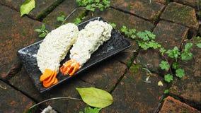 Kunstactiviteit van beeldhouwwerk van de garnalen Japans F van Tempura van de vormklei Stock Afbeelding