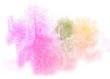 Kunstaquarelltintenfarbenklecks Watercolour-Spritzengrün, Orange, Stockfoto