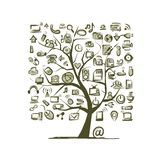 Kunstbaum mit IT-Geräten für Ihr Design Stockfoto