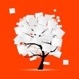 Kunstbaum mit Papieren für Ihren Text Lizenzfreies Stockbild