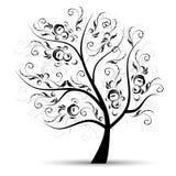 Kunstbaum schön, schwarzes Schattenbild stock abbildung
