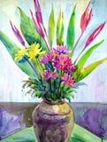 Kunstbloemen in de waterverf van het vaasstilleven het schilderen illustratie stock illustratie