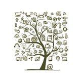 Kunstboom met IT apparaten voor uw ontwerp Stock Foto