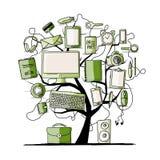 Kunstboom met digitale bureauapparaten voor uw ontwerp Stock Fotografie
