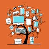 Kunstboom met digitale bureauapparaten voor uw ontwerp Stock Afbeelding