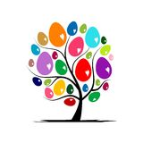Kunstboom met paaseieren voor uw ontwerp Stock Foto