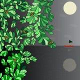 Kunstboot auf dem Horizont, der Mond in den Käfern des nächtlichen Himmels auf einer Baumvektorillustration Lizenzfreies Stockfoto