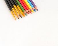 Kunstborstel en potlood voor het schilderen Stock Afbeelding