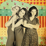 Kunstcollage mit drei Frauen Lizenzfreie Stockbilder