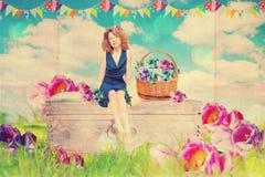 Kunstcollage mit schöner Frau stockbild
