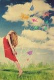 Kunstcollage mit schöner Frau, Retro Art lizenzfreies stockbild
