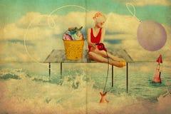 Kunstcollage mit Schönheit, Retrostil stockfotos