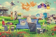 Kunstcollage mit schöner Frau, Retro Art Stockfoto