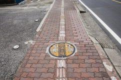 Kunstdesignsymbol von Saitama-Stadt auf Kanaldeckel an Fußweg b Stockfoto