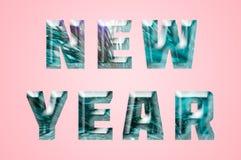 Kunsteis, das neues Jahr in der Minimalismusart beschriftet stockbild