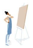 Kunstenaar die een leeg canvas bekijken Stock Afbeeldingen