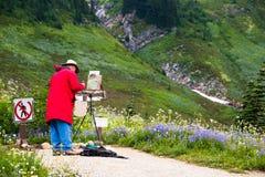 Kunstenaar die Engelse Lucht Plein schildert stock foto