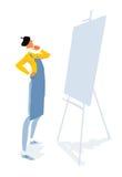 Kunstenaar die leeg canvas bekijken Stock Afbeelding