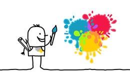 Kunstenaar en kleuren Royalty-vrije Stock Afbeeldingen