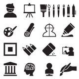 Kunstenaar & het Schilderen geplaatste pictogrammen Royalty-vrije Stock Foto's