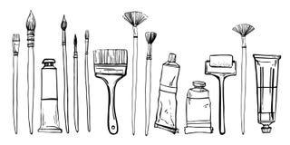 Kunstenaar het schilderen materialen Hand getrokken gestileerde schets vectorillustratie Borstels en verfbuizen stock illustratie