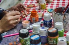 Kunstenaar het schilderen speelgoed Stock Foto's