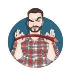 Kunstenaar, illustrator of schilder Man& x27; s professionele avatar Stock Afbeeldingen